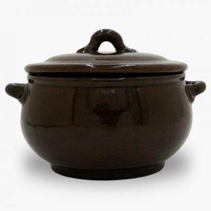 Bram 1.5 quart Bean Pot - Round Covered Casserole - Dark Assalie Brown