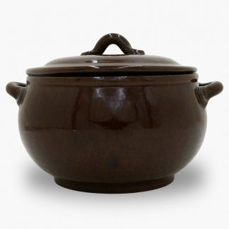 Bram 3.5 quart Bean Pot - Round Covered Casserole - Dark Assalie Brown
