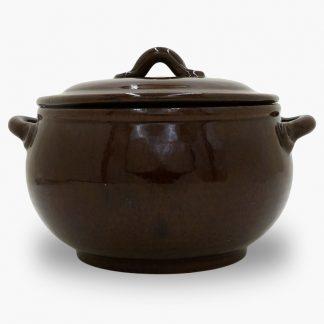Bram 3.5 quart Bean Pot - Round Covered Casserole - Dark Assalie Brown
