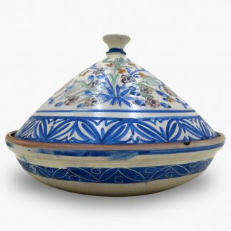 Bram 5 quart Hand-painted Tagine - Blue and White Flower Garden Design