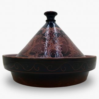 Bram 5 quart Hand-painted Tagine - Burgundy and Black Peacocks Design