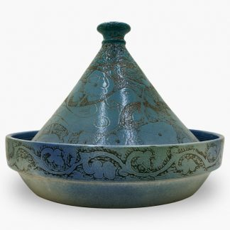 Bram 5 quart Hand-painted Tagine - Sky Blue Lovebirds Design