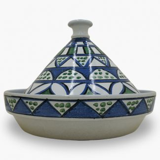 Bram 5 quart Hand-painted Tagine - White, Blue & Green Moroccan Design