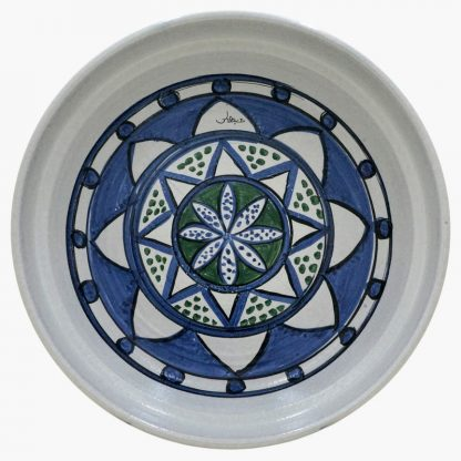 Bram 5 quart Hand-painted Tagine - White, Blue & Green Moroccan Design - base
