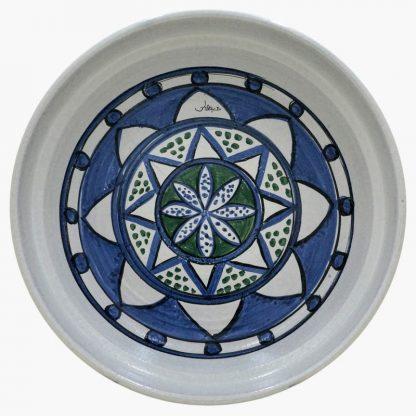 Bram 5 quart Hand-painted Tagine - White, Blue & Green Moroccan Design - base