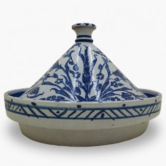 Bram 5 quart Hand-painted Tagine - White & Blue Garden Flowers Design