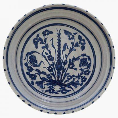 Bram 5 quart Hand-painted Tagine - White & Blue Garden Flowers Design - base