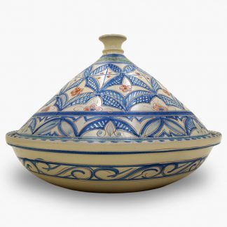 Bram 5 quart Hand-painted Tagine - Blue and White Moroccan Design