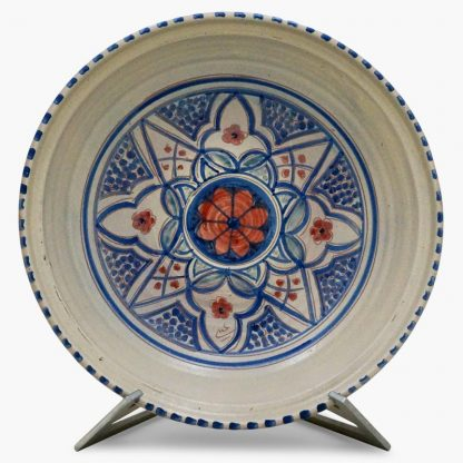 Bram 5 quart Hand-painted Tagine - Blue and White Moroccan Design - base