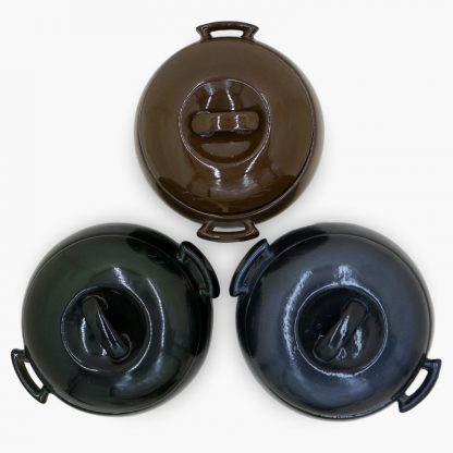 Bram Bean Pot - Round Covered Casserole, Top View, shown in three colors