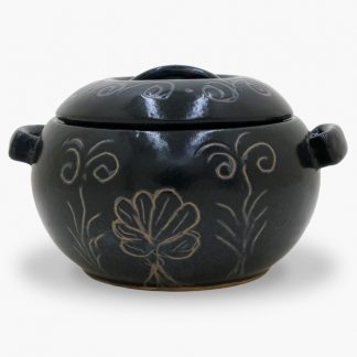 Bram 1½ quart Bean Pot - Round Covered Casserole, MIdnight Blue Flowers