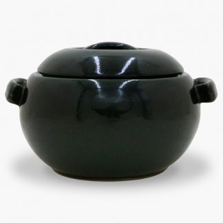 Bram 1½ quart Bean Pot - Round Covered Casserole, Dark Olive Green & Black
