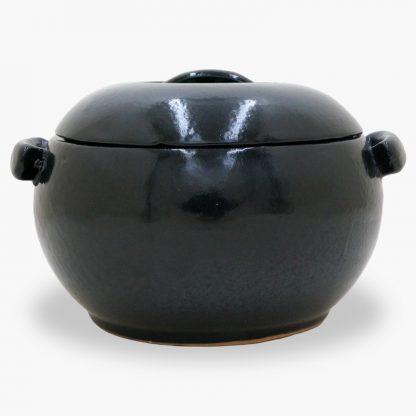 Bram 2 quart Bean Pot - Round Covered Casserole, MIdnight Blue & Black