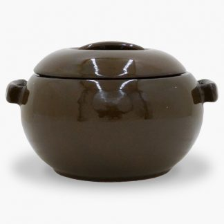 Bram 2 quart Bean Pot - Round Covered Casserole, Mocha Brown