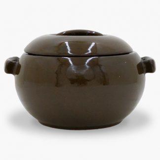 Bram 2 quart Bean Pot - Round Covered Casserole, Mocha Brown