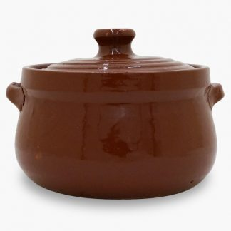 Bram 1.75 quart Bean Pot - Round Covered Casserole, Old Terra Cotta