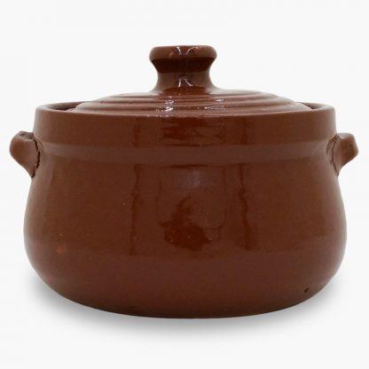Bram 1.75 quart Bean Pot - Round Covered Casserole, Old Terra Cotta