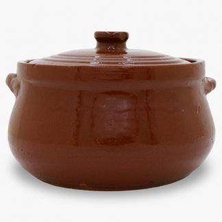 Bram 3 quart Bean Pot - Round Covered Casserole, Old Terra Cotta