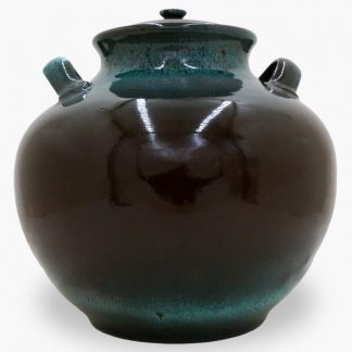 Bram 17 quart Bean Pot, Dark Brown & Turquoise