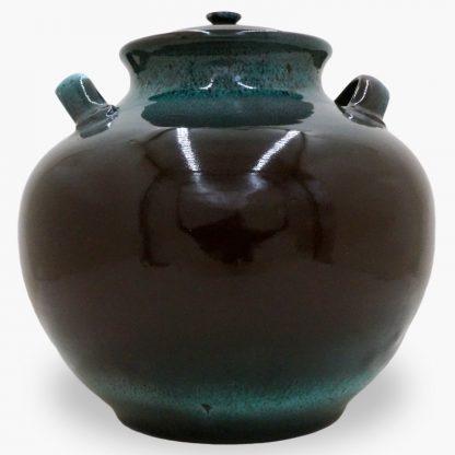 Bram 17 quart Bean Pot, Dark Brown & Turquoise