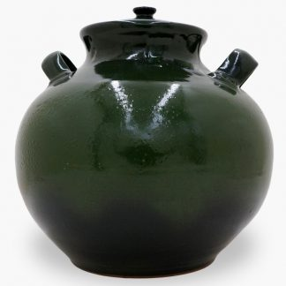Bram 17 quart Bean Pot, Dark Olive Green & Black
