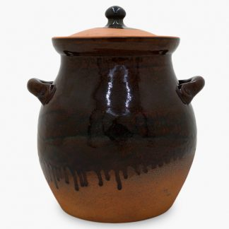 Bram 6½ quart Bean Pot, Dark Assalie Drip Glaze
