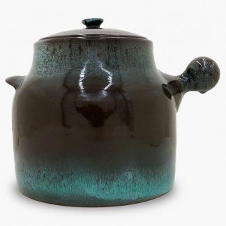 Bram Bean Pot - Soup/Stew Pot, 8½ qt. – Dark Brown & Turquoise